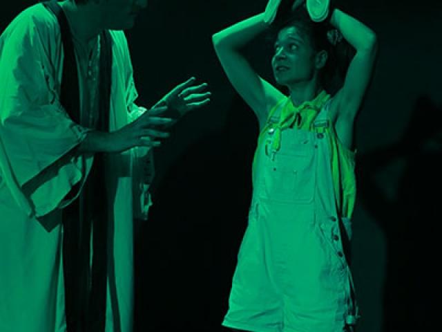 Justine Petitjean et Enzo Pirat  de la Compagnie Pleine Louve dans Raconte-moi une étoile au Rikiki Café Théâtre à Lyon
